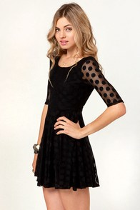 LULUS Exclusive Duke of Twirl Black Polka Dot Lace Dress at Lulus.com!
