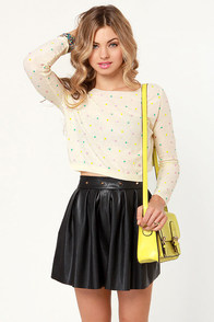 Candy Dots Cream Cropped Sweater at Lulus.com!
