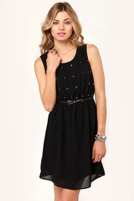 Starry Night Studded Black Dress at Lulus.com!