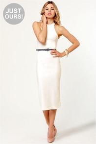 LULUS Exclusive Body-Con Artist Ivory Halter Dress