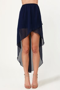 Fall for It High-Low Navy Blue Skirt at Lulus.com!