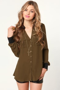 Leather Underground Olive Green Button-Up Top at Lulus.com!