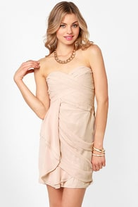 Midnight Masquerade Strapless Beige Dress at Lulus.com!