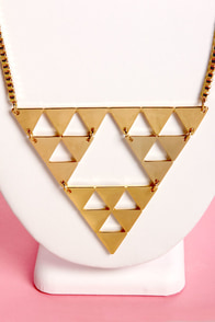 Tri-ing Times Gold Triangle Necklace at Lulus.com!