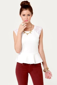 Lace Angeles Ivory Peplum Top at Lulus.com!
