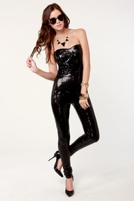 One for the Money Strapless Black Sequin Jumpsuit at Lulus.com!