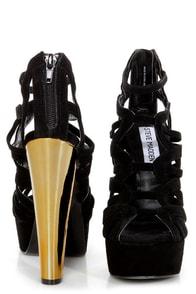 Steve Madden Dysert Black Suede Strappy Platform Heels at Lulus.com!
