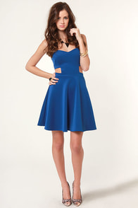 Spaced Makes Waist Strapless Blue Dress at Lulus.com!