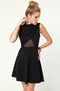 Noir-vel to Behold Cutout Black Dress