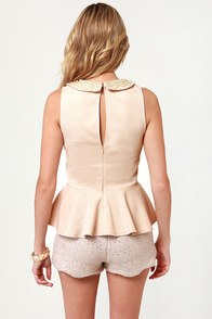 Pearl Capita Blush Beaded Top at Lulus.com!