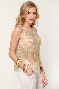 Costa Blanca Brilliance Sheer Beaded Top at Lulus.com!