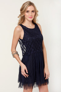 Costa Blanca What's Hot and What's Dot Navy Blue Dress at Lulus.com!