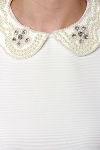 Pearl Capita Ivory Beaded Top at Lulus.com!