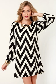 Zag Along Black and Ivory Striped Dress