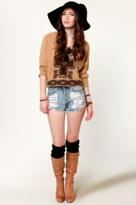 Obey Mystic Spirit Brown Cropped Sweater at Lulus.com!