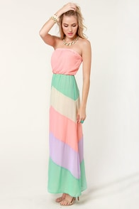 Place Your Sherbets Strapless Maxi Dress at Lulus.com!