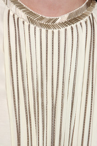 Leave it to Chain-ce Cream Beaded Fringe Top at Lulus.com!