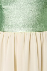 By De-Shine Cream and Metallic Green Dress at Lulus.com!