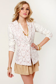 Lace-d to Know White Lace Blazer at Lulus.com!