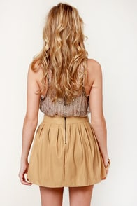 Pleat Fleet Beige Vegan Leather Skirt at Lulus.com!