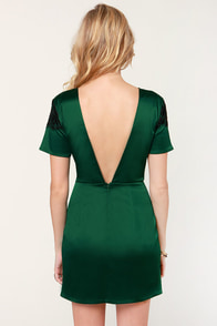 Nights in Green Satin Dress at Lulus.com!