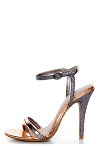 Anne Michelle Enzo 03 Rose Gold Metallic and Glitter Heels