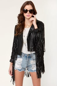 Moto Recall Fringe Vegan Leather Jacket