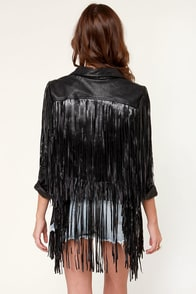 Moto Recall Fringe Vegan Leather Jacket at Lulus.com!