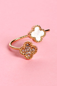 Up in Charms Gold Rhinestone Ring