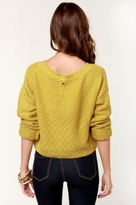 Obey Day Tripper Yellow Cropped Sweater at Lulus.com!