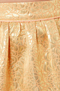 Brocade Toss Gold Brocade Skirt at Lulus.com!
