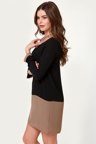 Mod-ly Enough Taupe and Black Shift Dress at Lulus.com!
