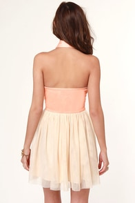Halter-Net Ending Peach Dress at Lulus.com!