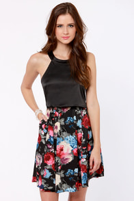 Night Blooms Black Floral Print Dress at Lulus.com!