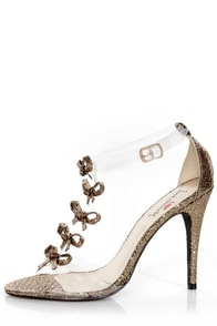 Luichiny Be Dazzled Gold Glitter and Lucite Floating Bow Heels at Lulus.com!