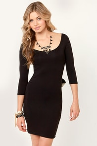 LULUS Exclusive Two for the Bow Black Dress at Lulus.com!