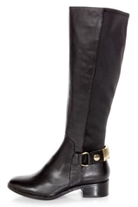 Steve Madden Reggiee Black Leather Gusseted Riding Boots