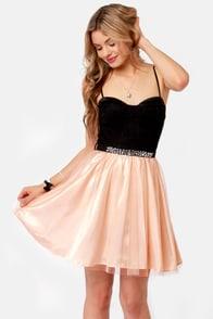 Twinkle, Twinkle Little Starlet Peach and Black Dress