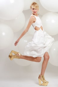 LULUS Exclusive Diamond Cleo Cutout White Dress at Lulus.com!