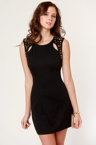 Star Command Studded Black Dress at Lulus.com!