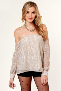 LULUS Exclusive Attagirl Off-the-Shoulder Taupe Lace Top at Lulus.com!