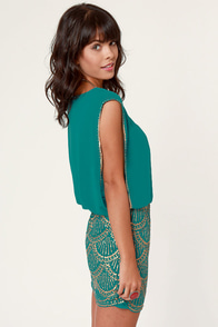 La Sirena Teal and Gold Sequin Dress at Lulus.com!