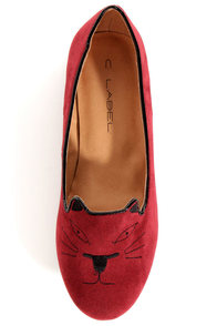 C Label Judy 1B Red Kitty Smoking Slipper Flats at Lulus.com!