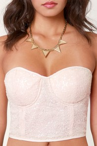 More or Luster Cream Sequin Bustier Top at Lulus.com!