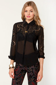 Embroider-ly Love Black Lace Top at Lulus.com!