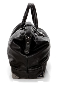 What's Up, Doc? Gunmetal and Black Handbag at Lulus.com!