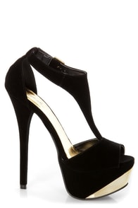 Qupid Count 09 Black Velvet and Gold T Strap Platform Heels at Lulus.com!