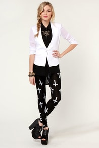 Cross Those Legs Black Cross Print Leggings at Lulus.com!