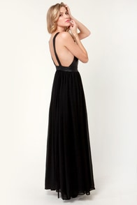 Mystery and Suspense Plunging Black Maxi Dress at Lulus.com!