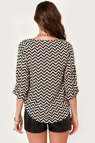 Chevron to Something Black and Beige Top at Lulus.com!